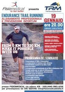 """19 GENNAIO ORE 20.00 – 1° EVENTO TRM DEL 2016 """"ENDURANCE TRAIL RUNNING: Allenamento professionale e prevenzione infortuni"""""""